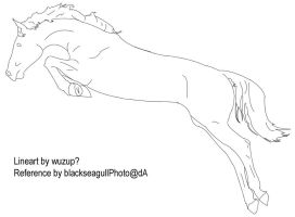 Jumping Horse Lineart by DeathlyLily