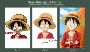 Draw this again - Luffy by SergiART