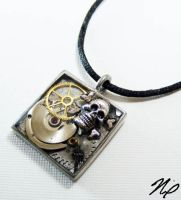 Steampunk Skull Resin Pendant by Create-A-Pendant