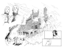 Fantasy Scene Inked Splash by madscuzzy
