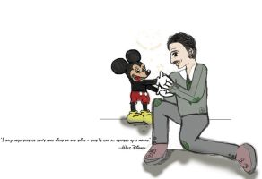 Walt Disney and Mickey Mouse by peonyroyale