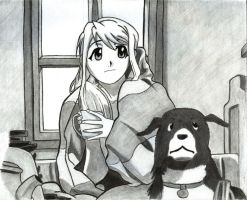 Winry and her puppy by KyceSilverFalcon