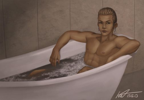 Balthier Bathing by gehenna-angel