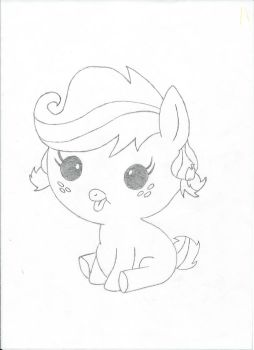 Baby Applejack - Pencil Line work by DWeegee