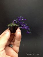 A purple hematite wire bonsai tree by Ken To by KenToArt