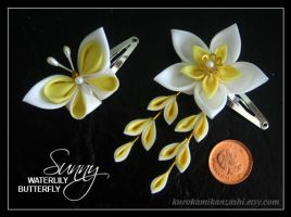 Sunny Waterlily and Butterfly Doll's Kanzashi by Kurokami-Kanzashi