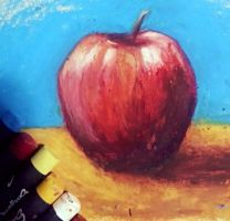 Oil pastel apple by FiRez-DA