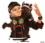 Monsterhood: Icarus and Gaki as Black Marten by student-yuuto