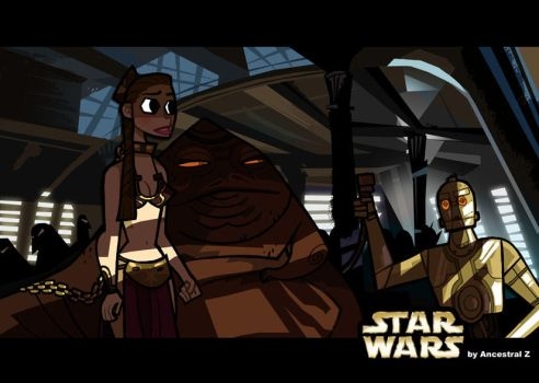 Leia and Jabba the jedi by Ancestral-Z
