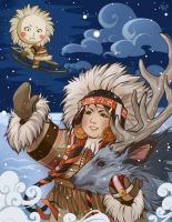 Russian Tales : Girl and Moon by Philiera
