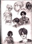 Attack on Titan sketches by Enyae