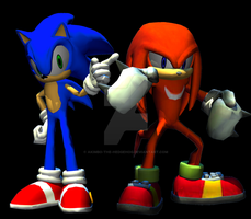 Sonic and Knuckles by Akimbo-the-Hedgehog