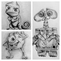Disney Pixar Drawings by LucindaGuy