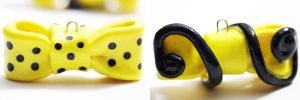 Two Yellow Bow Pendants by Shelby-JoJewelry