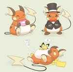 raichu x3 by YellowHellion