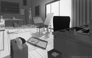 Perspective Study: Art Studio by TheObliviousOwl