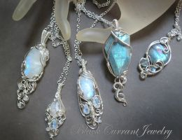 Rainbow Moonstone and Labradorite Pendants by blackcurrantjewelry