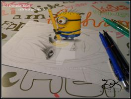 A Minion is ruining my Drawing!! [3D Drawing] by Delinlea