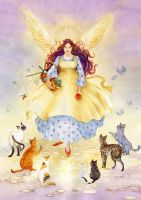 The Guardian Angel of Cats by janetchui