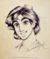 Aladdin Portrait BnW by MoonchildinTheSky