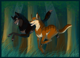Running in the woods by BerryKitsune