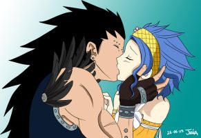 Gajeel  and Levy kiss by Julia-59