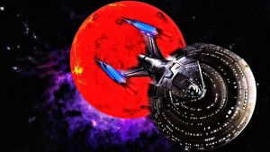 The USS Enterprise E and the Demon Class planet by Dave-Daring