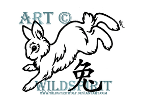 Rabbit And Kanji Tattoo by WildSpiritWolf