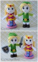 Toon Link and Zelda Amigurumi Doll Plush by xMangoRose