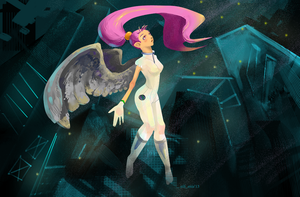 futuristic angel wallpaper by EiliEnie