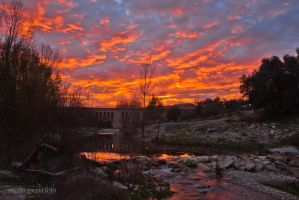 Sunset over the bridge by trencapins