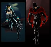 Batman and Catwoman painted by Ponsho