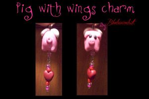 Clay pig with wings charm by BloodStainedSilk