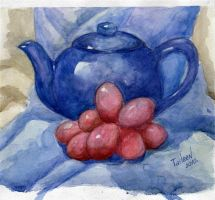 Blue teapot and grapes by TaileenDenvers
