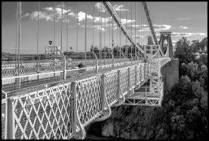 Clifton Suspension bridge black and white by nicholls34