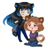 Commission: Neko and Angeru Chibis by aureliabell