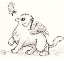 my griffin stalking a dragon fly by khalil433