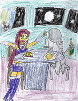 Starfire and Roger's Space Date by PuffyTopianMan