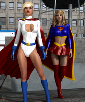 Power Girl and Supergirl by ladytania