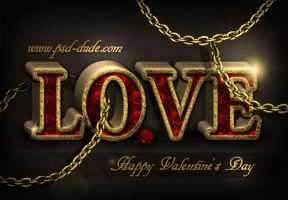 Love in Chains Photoshop Text Tutorial by PsdDude