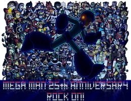 Mega Man 25th Anniversary - ROCK ON! by x-Hypotermia-x