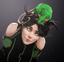 Girl in Microgravity with Green Rat by Jack-Kaiser