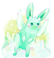 flying mint bunny by skyna