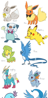 Favorite Pokemon of each type by sapphireluna