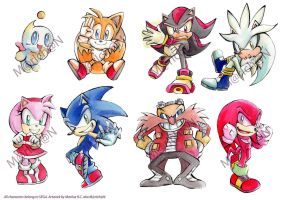 Sonic Modern Set (Stickers and Keychains) by 7marichan7