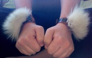 White Wolf and Leather Cuff- For Sale! by Hawock