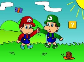 baby Mario and baby Luigi by ruseau