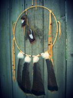 Large Dream Catcher with Turkey Feathers by xsaraphanelia