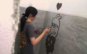 me doodle on wall , street art Chiangmai Thailand by Annatarhouse