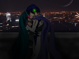 Miku and Kaito kissing scene by OHerman